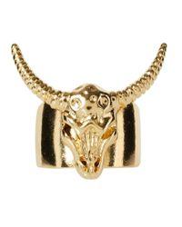 ASOS - Metallic Asos Animal Skull Ring for Men - Lyst