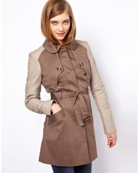 ASOS Collection | Brown Asos Contrast Sleeve Mac | Lyst