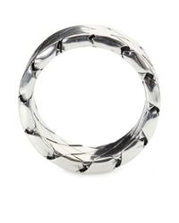 Bottega Veneta - Metallic Intrecciato Sterling Silver Ring - Lyst