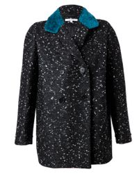 Carven - Black Tweed Coat with Faux Fur Collar - Lyst