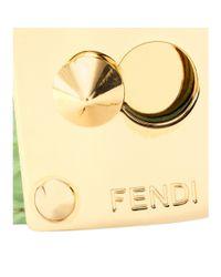 Fendi - Green Crocodile Leather Cuff with Studded Logo Closure - Lyst