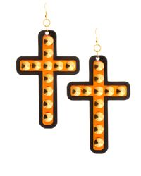 Sam Ubhi - Orange Funky Bling Oversized Cross Earrings - Lyst