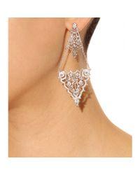 Iam By Ileana Makri Metallic Chantilly Lace Chandelier Earrings