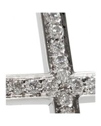 Ileana Makri - Turning Cross 18kt White Gold Ring With White Diamonds - Lyst