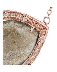 Jacquie Aiche | 14kt Rose Gold Partial White Diamond Small Teardrop Labradorite Bezel Necklace | Lyst