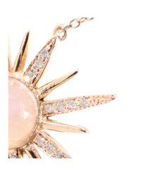 Jacquie Aiche - White 14kt Rose Gold Starburst Pendant Necklace with Pavé Diamonds - Lyst