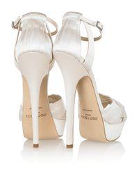 Jimmy Choo - White Fairy Satin Platform Sandals - Lyst