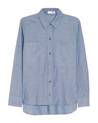 LNA | Blue Cotton-Chambray Shirt | Lyst