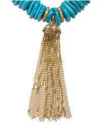 Loree Rodkin | Blue Diamond Tassel and Raw Turquoise Bead Bracelet | Lyst