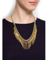 Mango - Metallic Chain Pendants Necklace - Lyst