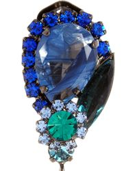 Marni - Blue Crystal and Resin Clip Earrings - Lyst
