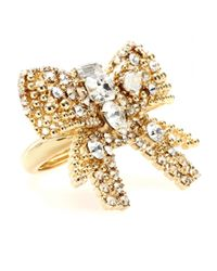 Miu Miu | Metallic Crystal Bead Embellished Bow Ring | Lyst