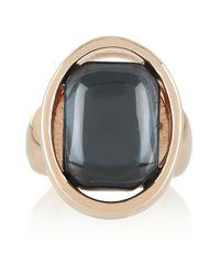 Oscar de la Renta | White Rose Goldtone Cabochon Ring | Lyst