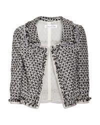 Oscar de la Renta - Black Cropped Bouclé-tweed Jacket - Lyst
