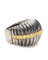 Roberto Marroni | Metallic Oxidized Sterling Silver Ring With Yellow Diamonds Set On 18kt Yellow Gold | Lyst