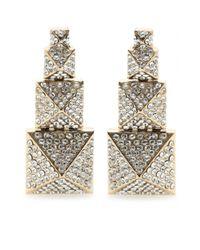 Valentino | Metallic Crystal Embellished Drop Earrings | Lyst