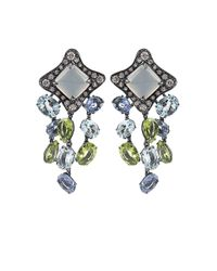 Antonini | Blue Moonstone Sapphire Aquamarine Peridot and Diamond Earrings | Lyst