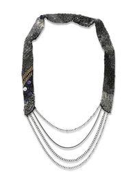 DIESEL | Metallic Stel Necklace | Lyst
