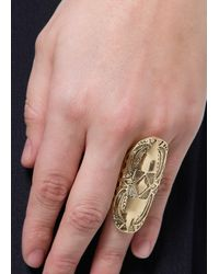 Mango - Metallic Touch Tribal Embossed Ring - Lyst