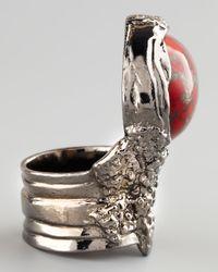Saint Laurent | Metallic Red Glass Arty Ring | Lyst