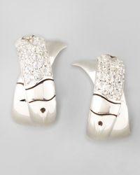 John Hardy | Metallic Bamboo Silver White Sapphire Jhoop Earrings | Lyst