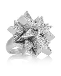 Eddie Borgo | Metallic Pentagram Silverplated Pavé Crystal Ring | Lyst