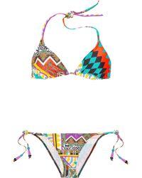 Etro - Purple Printed Triangle Bikini - Lyst