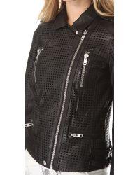 IRO - Black Caelie Perforated Leather Jacket - Lyst