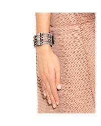 Lanvin - Black Crystal Embellished Leather Bracelet - Lyst