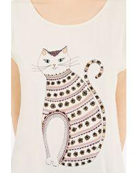 Oasis - White Twinkle Stripe Cat Tee - Lyst