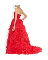 Oscar de la Renta - Red Lace and Tulle Gown - Lyst