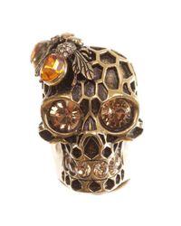 Alexander McQueen | Metallic Honeycomb Skull Cocktail Ring | Lyst