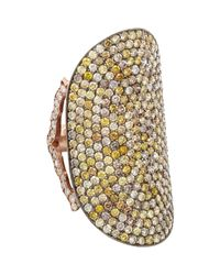 Sara Weinstock | Metallic Pave Diamond Elongated French Lace Ring | Lyst
