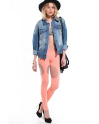 AKIRA - Pink Cutout Garter Leggings in Coral - Lyst