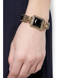 Mango - Metallic Touch Squared Stoned Bracelet - Lyst