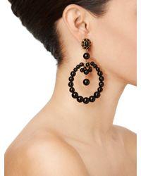 Oscar de la Renta - Black Beaded Circular Earrings - Lyst