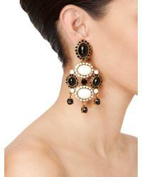 Oscar de la Renta - White Iconic Opaque Cabochon Drop Earrings - Lyst