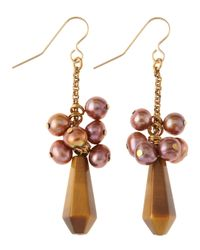 Stephen Dweck | Pink Tigers Eye Pearl Drop Earrings | Lyst