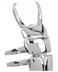 Dominic Jones - Metallic Beetle 22karat White Goldplated Ring - Lyst