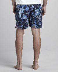 Etro - Paisley Swim Trunks Blue for Men - Lyst