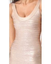 Hervé Léger - Pink Catherine Foil Dress - Rose Gold Combo - Lyst