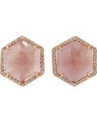 Irene Neuwirth - Pink Sapphire Diamond Hexagon Stud Earrings - Lyst
