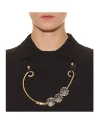 Miu Miu | Metallic Faceted Crystal Necklace with Leather Tie | Lyst