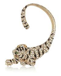Roberto Cavalli - Metallic Goldplated Swarovski Crystal Cuffstyle Tiger Earrings - Lyst