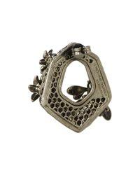 Alexander McQueen - Gray Hexagon Bee Skull Earrings - Lyst