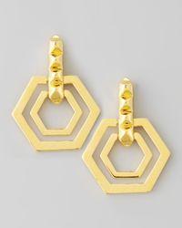 Eddie Borgo | Metallic Small Edie Hexagonal Earrings | Lyst
