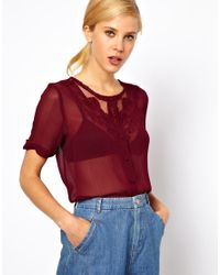 ASOS Collection | Blouse with Embroidered and Cut-Work Yoke | Lyst