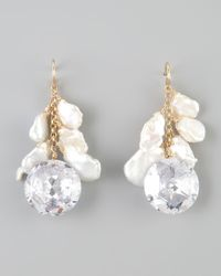 Devon Leigh | White Keshi Pearl Cubic Zirconia Drop Earrings | Lyst