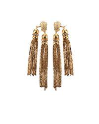 House of Lavande | Metallic Double Tassel Earrings | Lyst