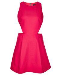 TOPSHOP | Pink Cut Out Sun Dress | Lyst